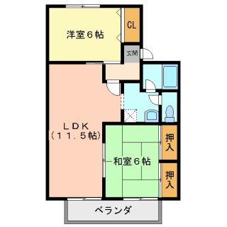 徳島市住吉 2LDKアパート