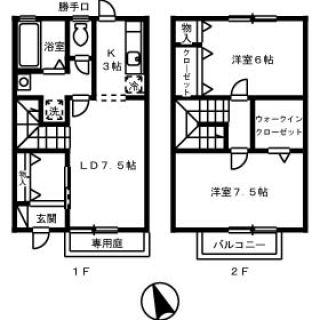 徳島市川内町(中島) 2LDKタウンハウス