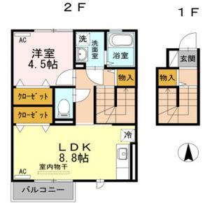 阿南市那賀川町上福井 1LDKアパート